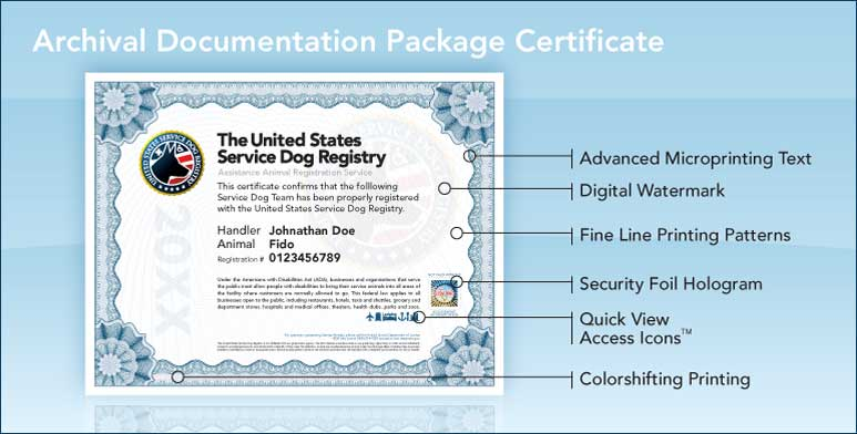 upgraded archival documentation package | united states service dog ...